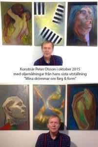 Peter Olsson hade sin sista utställning på Galleri Lyktan, Skogås , (varifrån bilden är hämtad) där han också varit mycket aktiv.