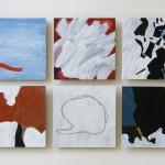 Målningar i akryl och lack på järnplåt. Gunnar Lundkvist