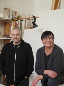 Gunnar Lundkvist och Gun Lindblad i sin ateljé