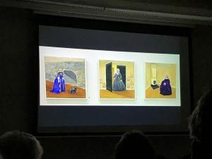 Olle Magnusson visade bilder från förra årets utställningar. Här Lil Wibergs tre damer som styrt på Fullersta gård ur Fullerstapalettens utställning.